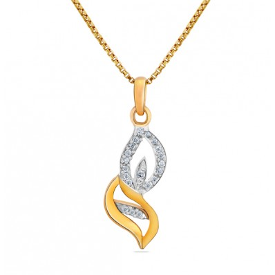 Pendant set with gold and diamond in leaf shape
