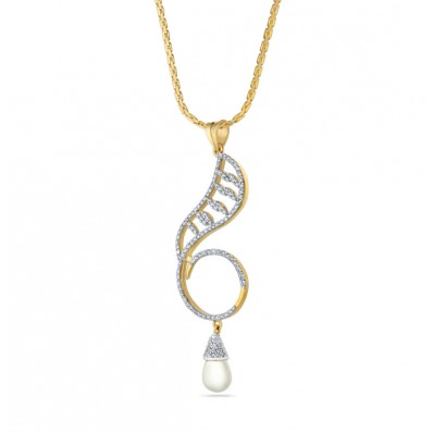 Pendant set with pearl gold and diamond in round shape