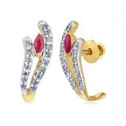 Hoop Earring in Gold Diamond and Ruby