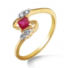 Gold Diamond Ring with Ruby stone