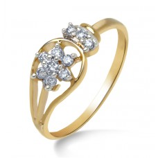 Yellow gold with diamond in flower shape