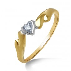 gold ring attached with diamond heart