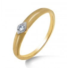 Round Shape gold ring with diamond