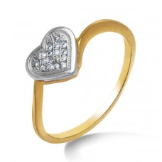 diamonds entangled in hearts and yellow gold