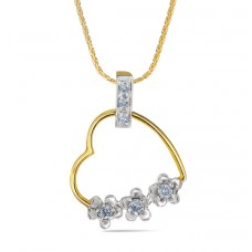 Pendant set with gold in heart and diamond in flower shape