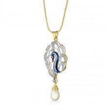 pendant set with pearl in oval and blue duck shape