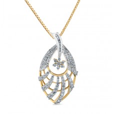 Pendant set with diamond in flower and oval shape